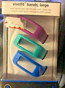 NEW Garmin Vivofit Bands Accessory Wristbands 3 Blue Green Purple Size Large