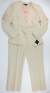 NWT $200 Emily Womens Size 10 Solid Open Front Jacket Pant 2-Piece Suit In Sand