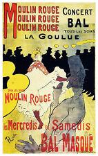 Vintage Moulin Rouge Poster, Toulouse-Lautrec, Bohemian Nightclub, Paris, France