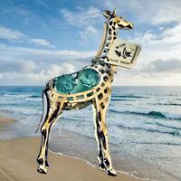 Giraffe Figurine Silver Plated with Aqua Austrian Crystals New