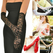 US Sexy Lace Gloves Thin Long Bride Wedding Party Arm Elbow Prom Driving 19.7''