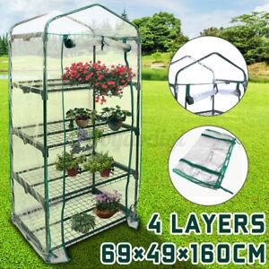 4 Tier Mini Greenhouse Walk In Grow Bag Green House PVC Cover Plastic Garde