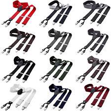 Hosenträger breit 4 Clips Y-Form elastisch verstellbar Herren Damen Unisex Leder