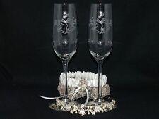 Wedding Bells Laser Etched Champagne Glasses Toasting Flutes Set 2 Bride & Groom