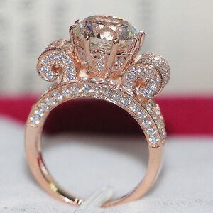 Top Luxury Certified 3CT Moissanite Diamond Women Ring Pure 14K Rose Gold Ring