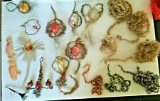 Lot Antique Tinsel Christmas Ornaments glass, garland,angel hair comet, Dresdens