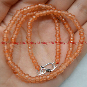 2x4mm Natural  Faceted Rondelle Gemstone Beads Necklace 20'' Silver Clasp