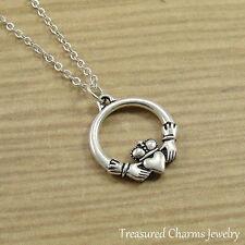 Silver Claddagh Charm Necklace - Irish Gaelic Love Symbol Pendant Jewelry NEW