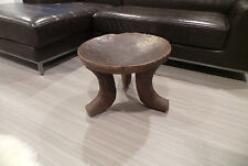 """ETHIOPIAN AFRICAN HAND CARVED WOODEN STOOL TABLE 15.5""""H 20.5""""DIA AUTHENTIC 3 LEG"""