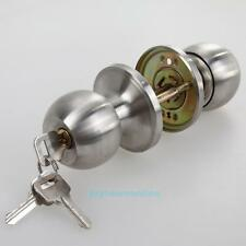 Stainless Rotation Round Door Knobs Handle Entrance Passage Lock With Key Set