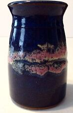 Blue Pink Art Pottery Vase Holder Crock Glazed NC B R Signed