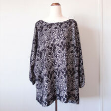 Black White Lace Mesh Overlay Long Sleeve Top Blouse Tunic Plus Size 18,20,22,24