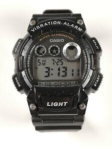 CASIO W-735H - Vibration alarm black digital watch, large G-Shock style 100m