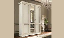 Kleiderschrank 3 türig Spiegel  Ducale Linden Holz Furnier Holz Stilvoll  Italy