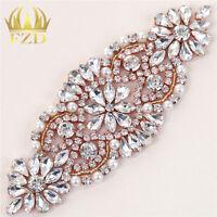 Fashion Rose Gold Rhinestone Applique Sash Bridal DIY Bling Wedding Crystal Belt