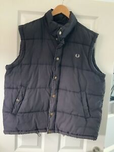 Fred Perry Mens Dark Blue Down Puffer Gilet Jacket Size XL