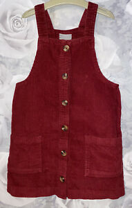 Girls Age 7 (6-7 Years) Red Cord Pinafore Dress - Excellent Condition