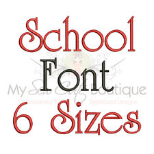 School Machine Embroidery Font - 6 Sizes - IMPFCD35
