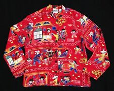 Chicos Design 1 Red Silk Blouse Shirt Top Asian Festivity Scene Mandarin Collar
