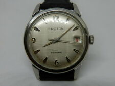 VINTAGE CROTON AQUAMATIC ETA 7472 MENS DRESS WRISTWATCH ~LINEN LOOK DIAL~1960s