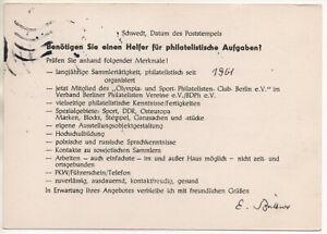 DDR Ganzsache mit Zudruck Schwedt, Helfer für philatelistische Aufgaben