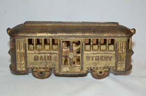 """CAST IRON """"MAIN STREET TROLLEY (WITH OUT THE PEOPLE)"""" STILL BANK"""