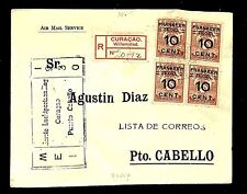 CURACAO 1930 SPEC FLIGHT CV REG... TO   Pto. CABELLO   SPEC PM.. F/ VF