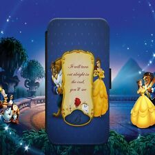 DISNEY BEAUTY BEAST QUOTE FLIP WALLET PHONE CASE COVER FOR IPHONE SAMSUNG HUAWEI