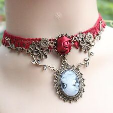 Victorian Red Lace Rose Flower cameo Pendant Bronze Chain choker Collar Necklace