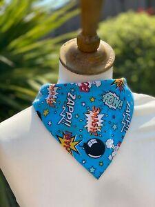 Comic Book Dog Bandana Neckerchief Slide on Collar Scarf Neck Tie