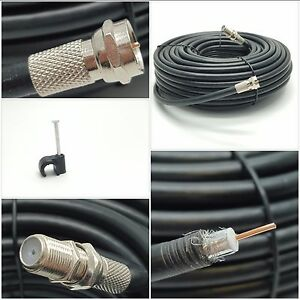 BLACK 5m RG6 Coaxial Satellite Extension Cable For Sky HD Q Virgin Freesat TV