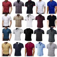 Fashion Men Clothing Plain T-Shirt Slim Fit Short Sleeve Shirt Top Blouse