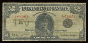 Dominion of Canada $2, 1923 - DC-26j. - Black seal, group 3. S/N: T-742054/D