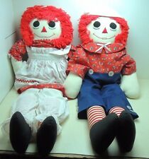 LARGE Raggedy Ann and Andy Cloth Dolls  36 Inch Signed Hand Made 1990
