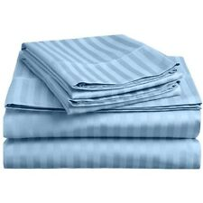 KING SIZE LIGHT BLUE STRIPE BED SHEET SET 800 THREAD COUNT 100% EGYPTIAN COTTON