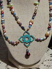 Diamond Pendant Beaded Necklace Set 2 strand Freshwater Pearls & Hand-Patina'd