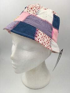 GIRLS PATCHWORK PINK BLUE WHITE RED FLORAL BUCKET STYLE HAT BNWT HTC547
