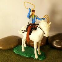 Original Hausser Elastolin 5,6cm Steckfigur beweglich Cowboy auf seltenen Pferd
