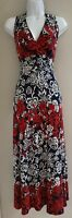 Womens Precis Blue White Floral Ruched Crossover Stretch Sleeveless Maxi DressXL