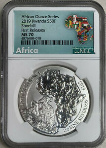 2019 Rwanda Shoebill 50 Franc 1oz Silver NGC MS70 First Releases