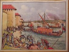 affiche scolaire les NORMANDS siege de PARIS chateau fort