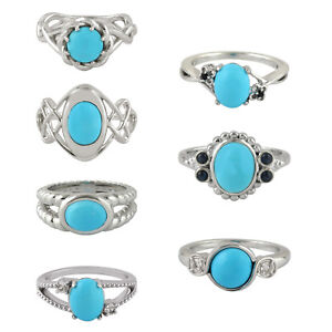 Natural Turquoise Gemstone Statement Ring 925 Sterling Silver Handmade Jewelry
