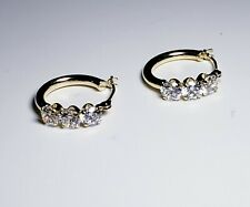 14k Yellow Gold White Topaz Hoop Earrings/ Aretes de Oro
