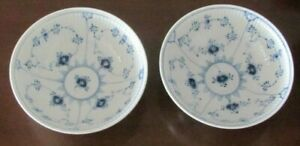 Two Royal Copenhagen Hand-painted Cereal Bowls, # 1 Pattern, Plain