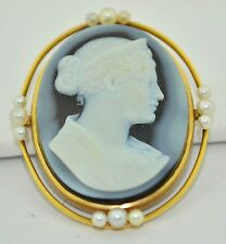 14K Antique Black Agate Hand Carved Cameo & Pearl Pendant and Brooch