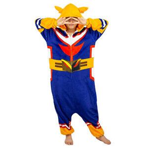 My Hero Academia All Might Cosplay Pajamas One-Piece Flannel Sleepwear Costume