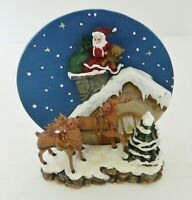 Collectors Edition Plate w/ Holder A Christmas Remembered Santa Down Chimney