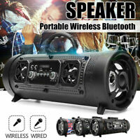 Portable Wireless Bluetooth Speaker Boombox Bass Stereo Cylinder SD FM AUX Radio