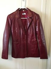 Womens Red Burgundy Vintage Leather Jacket Small By Blucid