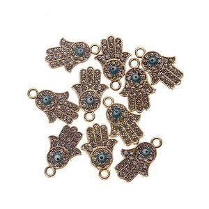 10pcs Gold Silver Hamsa Hands Charms Pendant Fit DIY Bracelet Jewelry Finding